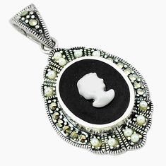 Natural blister pearl marcasite 925 sterling silver pendant jewelry c18854