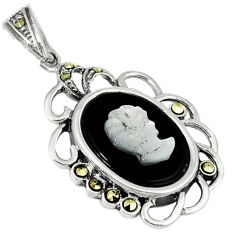 Natural blister pearl marcasite carved lady cameo 925 silver pendant c20879