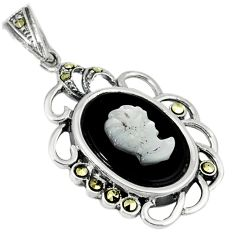 Natural blister pearl marcasite carved lady cameo 925 silver pendant c20880