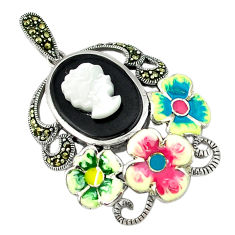 Natural blister pearl marcasite enamel 925 silver flower pendant jewelry c18859