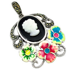 Natural blister pearl marcasite enamel 925 silver flower pendant jewelry c18850