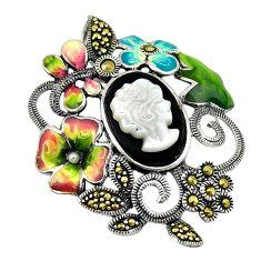 Natural white blister pearl marcasite enamel 925 silver flower pendant c16483