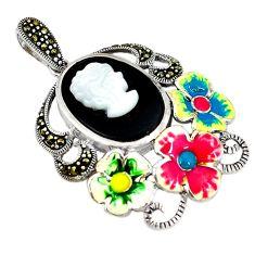 Natural blister pearl marcasite enamel 925 silver flower pendant c26118