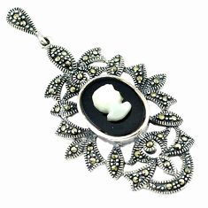 Natural blister pearl marcasite 925 sterling silver pendant jewelry c18857