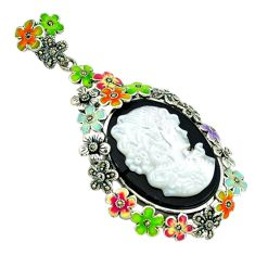 Natural blister pearl onyx enamel 925 silver brooch pendant jewelry c18834