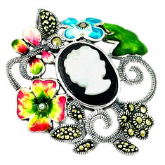 Natural blister pearl onyx enamel 925 silver flower pendant jewelry c18849
