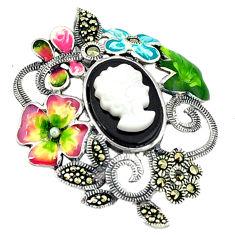 Natural blister pearl onyx enamel 925 silver flower pendant jewelry c18846