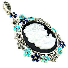 Natural blister pearl onyx enamel 925 sterling silver pendant jewelry c18836