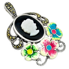 Natural blister pearl onyx enamel 925 sterling silver pendant jewelry c18855