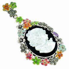 Natural blister pearl onyx enamel 925 sterling silver flower pendant c18824