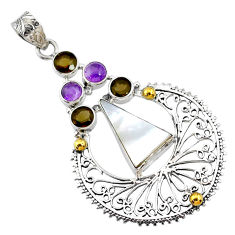 10.89cts natural blister pearl smoky topaz 925 silver 14k gold pendant r72899