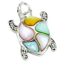 Natural blister pearl topaz enamel 925 silver turtle pendant a39655 c14733