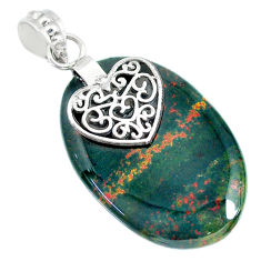 25.82cts natural bloodstone african (heliotrope) 925 silver heart pendant r90905