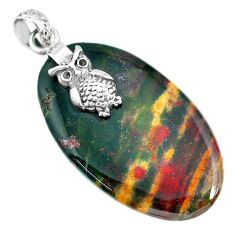36.02cts natural bloodstone african (heliotrope) 925 silver owl pendant r90908