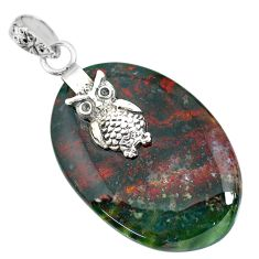 Clearance Sale- 27.07cts natural bloodstone african (heliotrope) 925 silver owl pendant r90982