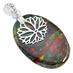 29.93cts natural bloodstone african (heliotrope) 925 silver pendant r90986