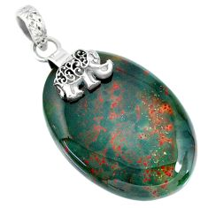 33.88cts natural bloodstone african (heliotrope) silver elephant pendant r90907