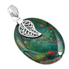30.82cts natural bloodstone african 925 silver deltoid leaf pendant r90906