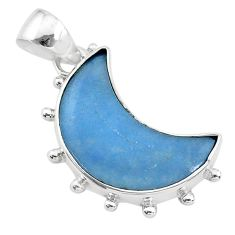 10.08cts natural blue angelite 925 sterling silver moon pendant t21805