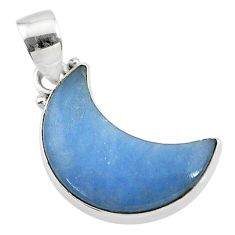 10.08cts natural blue angelite 925 sterling silver moon pendant t21808