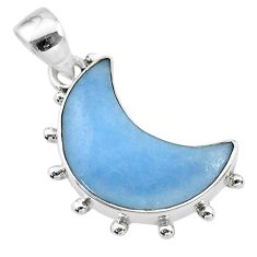 10.62cts natural blue angelite 925 sterling silver moon pendant t21809