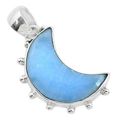 9.72cts natural blue angelite 925 sterling silver moon pendant t21812
