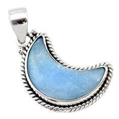 12.15cts natural blue angelite 925 sterling silver moon pendant t21942