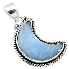 12.18cts natural blue angelite fancy 925 sterling silver moon pendant t21967