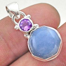 6.64cts natural blue angelite purple hexagon amethyst 925 silver pendant t46442
