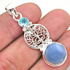 6.36cts natural blue angelite topaz 925 silver tree of life pendant t46401