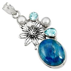Clearance Sale- 19.12cts natural blue apatite (madagascar) 925 silver flower pendant d42641