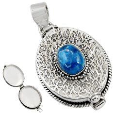 4.36cts natural blue apatite (madagascar) 925 silver poison box pendant r30621
