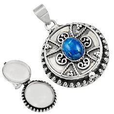 3.98cts natural blue apatite (madagascar) 925 silver poison box pendant r30649
