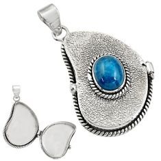 3.91cts natural blue apatite (madagascar) 925 silver poison box pendant r30650