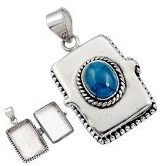 4.19cts natural blue apatite (madagascar) 925 silver poison box pendant r30723