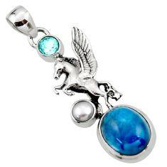 6.15cts natural blue apatite (madagascar) 925 silver unicorn pendant r52701