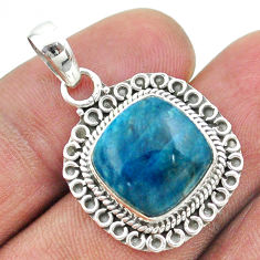 11.23cts natural blue apatite (madagascar) 925 sterling silver pendant t53249