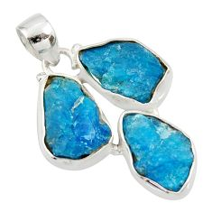 19.23cts natural blue apatite rough 925 sterling silver pendant jewelry d45341