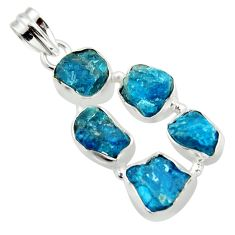 19.82cts natural blue apatite rough 925 sterling silver pendant jewelry r41005