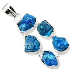 20.86cts natural blue apatite rough 925 sterling silver pendant jewelry r41006