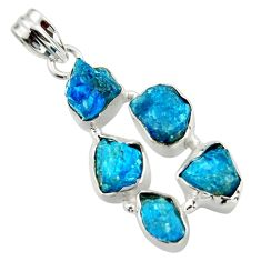 17.42cts natural blue apatite rough 925 sterling silver pendant jewelry r41009