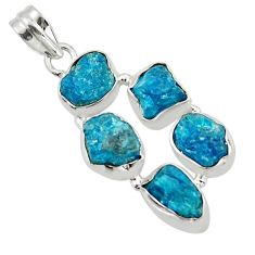 19.82cts natural blue apatite rough 925 sterling silver pendant jewelry r43181