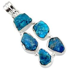 21.58cts natural blue apatite rough 925 sterling silver pendant jewelry r43186