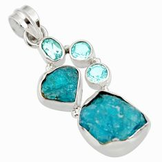 Clearance Sale- 16.17cts natural blue apatite rough topaz 925 sterling silver pendant d39190