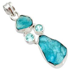 16.87cts natural blue apatite rough topaz 925 sterling silver pendant d43519