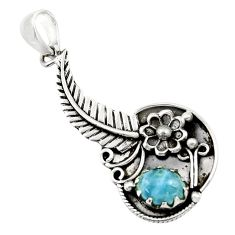 3.21cts natural blue aquamarine 925 sterling silver flower pendant r44505