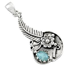 1.98cts natural blue aquamarine 925 sterling silver flower pendant r44573