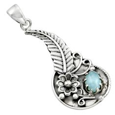 1.95cts natural blue aquamarine 925 sterling silver flower pendant r44574