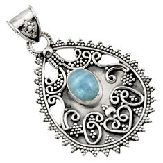 3.44cts natural blue aquamarine 925 sterling silver pendant jewelry d45063