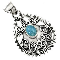 Clearance Sale- 2.99cts natural blue aquamarine 925 sterling silver pendant jewelry d45068